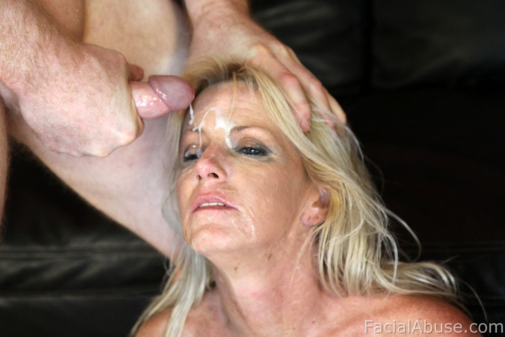 Busty milf likes cum on her face